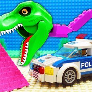 JURASSIC WORLD EVOLUTION Red T-REX Dinosaurs vs Police DINO Truck