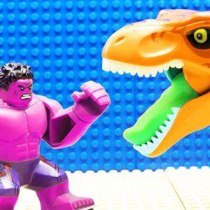 JURASSIC WORLD EVOLUTION Blue-Green Velociraptor T-REX Giganotosaurus vs Hulk Team