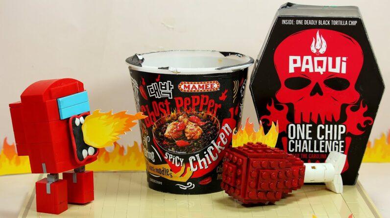 LEGO Spicy Food Challenge 🔥 AMONG US ANIMATION MUKBANG ASMR