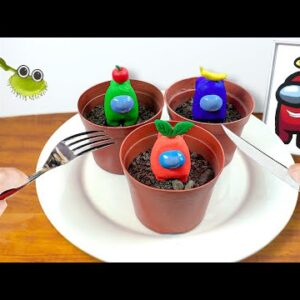 Grow and Eating AMONG US PLANTS for Dinner |  ASMR Mukbang No Talking Animation