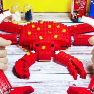EATING LEGO KING CRAB IRL 🦀 FOR DINNER - ASMR Mukbang Seafood Animation