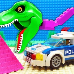 Police Dino Truck Pickup Parkour Sand Pyramid Giant Pit