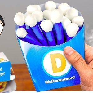 Eating Doraemon Burger for Breakfast - ASMR Mukbang Food Animation
