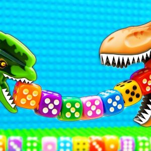 JURASSIC WORLD EVOLUTION Marble Run T-REX Dinosaurs vs Dice Food
