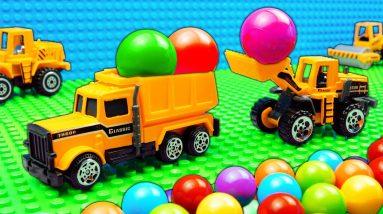 Marble Run Race ASMR Tractor Roller Big Dump Trucks Steamroller