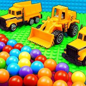 Marble Run Race ASMR Truck Crane Tractor Dump Truck