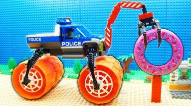 Super Police Trucks Excavator Steamroller Dump Donut Truck