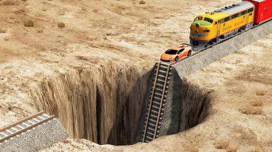 Trains & Cars vs Super Pit - BeamNg.drive