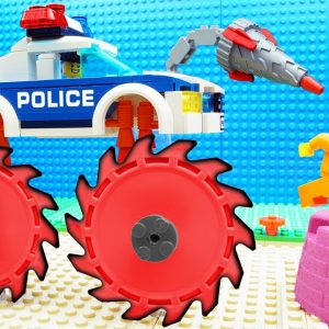 Super Police Epic Cycling on IceTrucks Excavator Steamroller Dump Truck